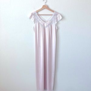 Vintage Nylon Soft Pink W/Lace Nightgown